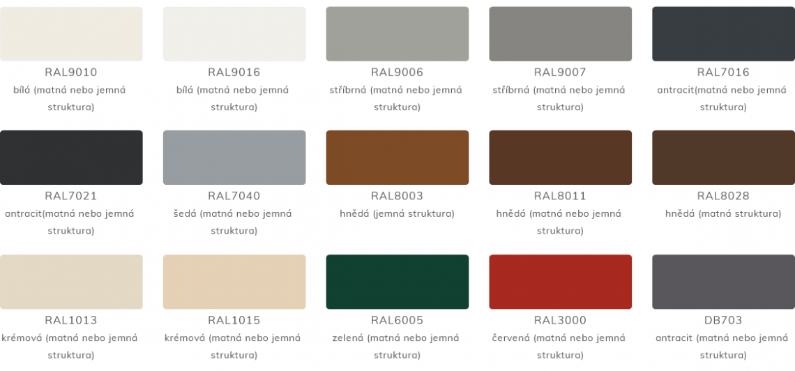 Základní barvy a povrchy samonosných posuvných bran