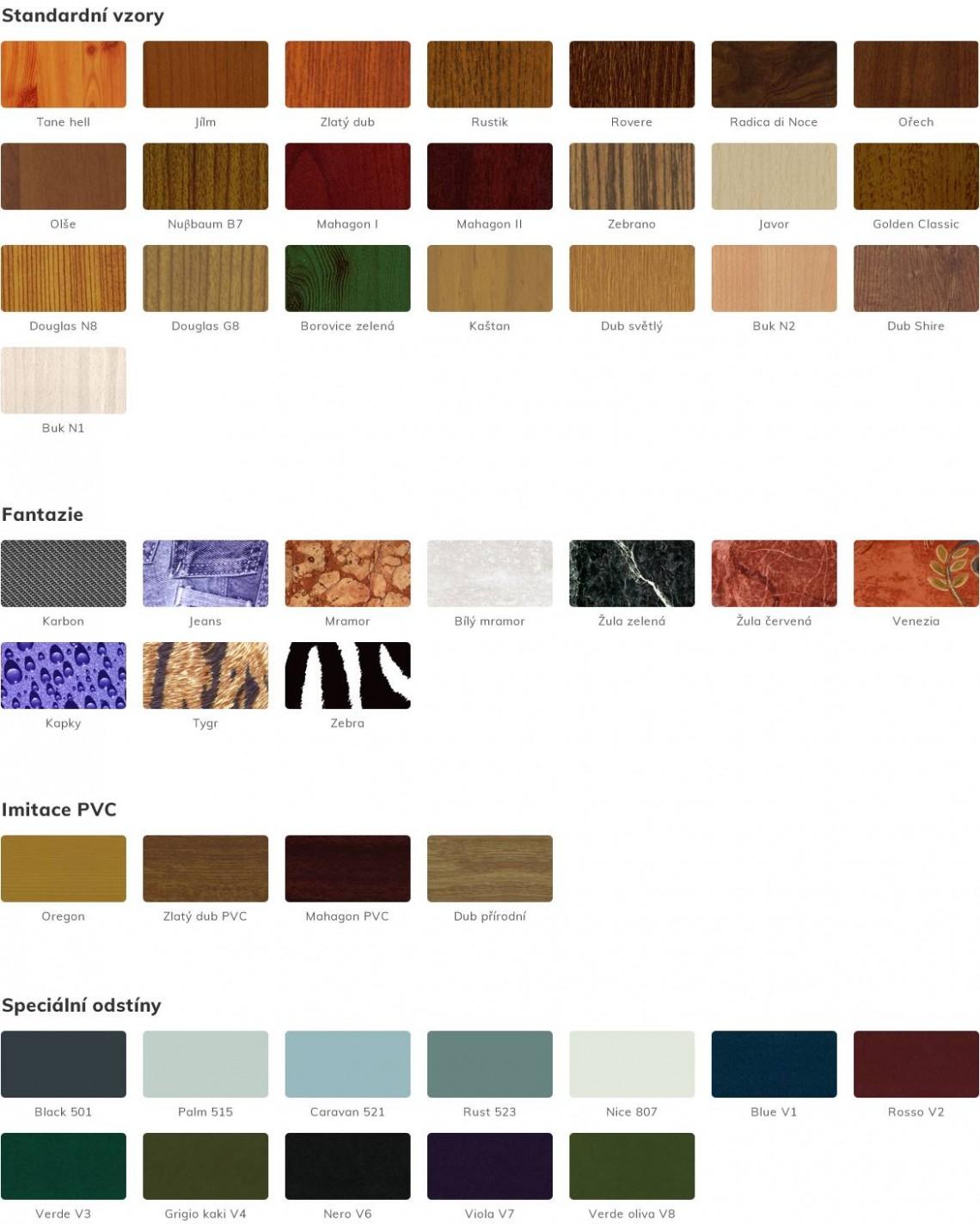 Příplatkové barvy a povrchy designových plotů LINE
